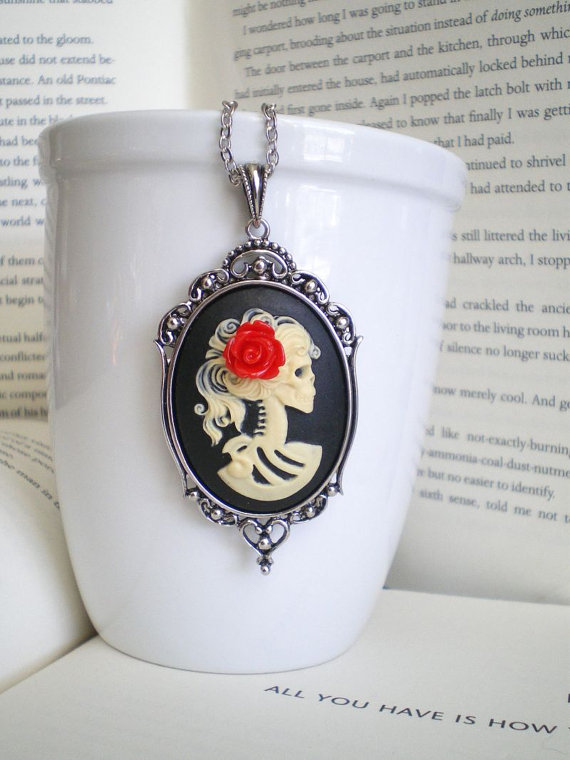 Lady Skeleton Cameo Necklace - Day of The Dead Jewelry - Madame Mayhem